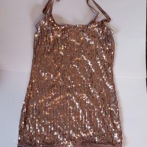Gold sequin adjustable strap camisole